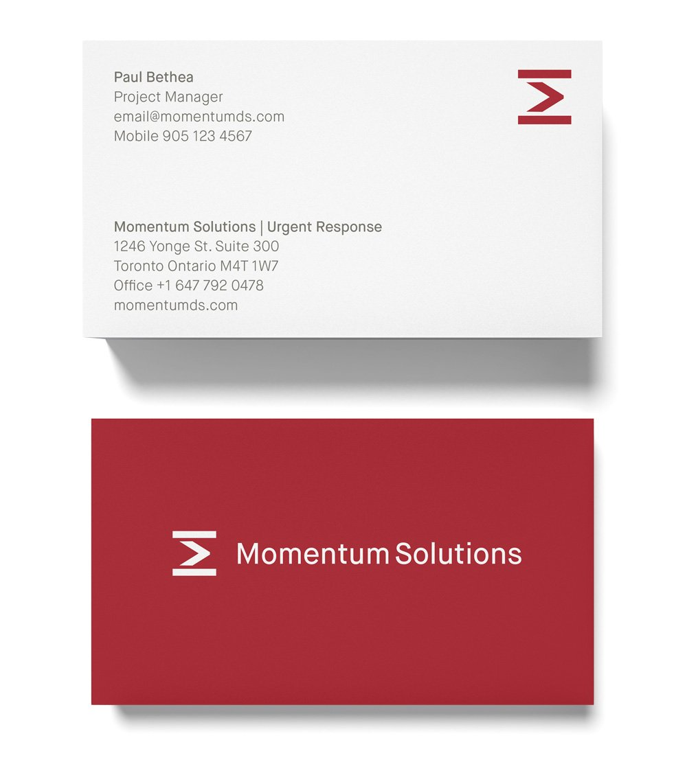 momentum solutions business card design