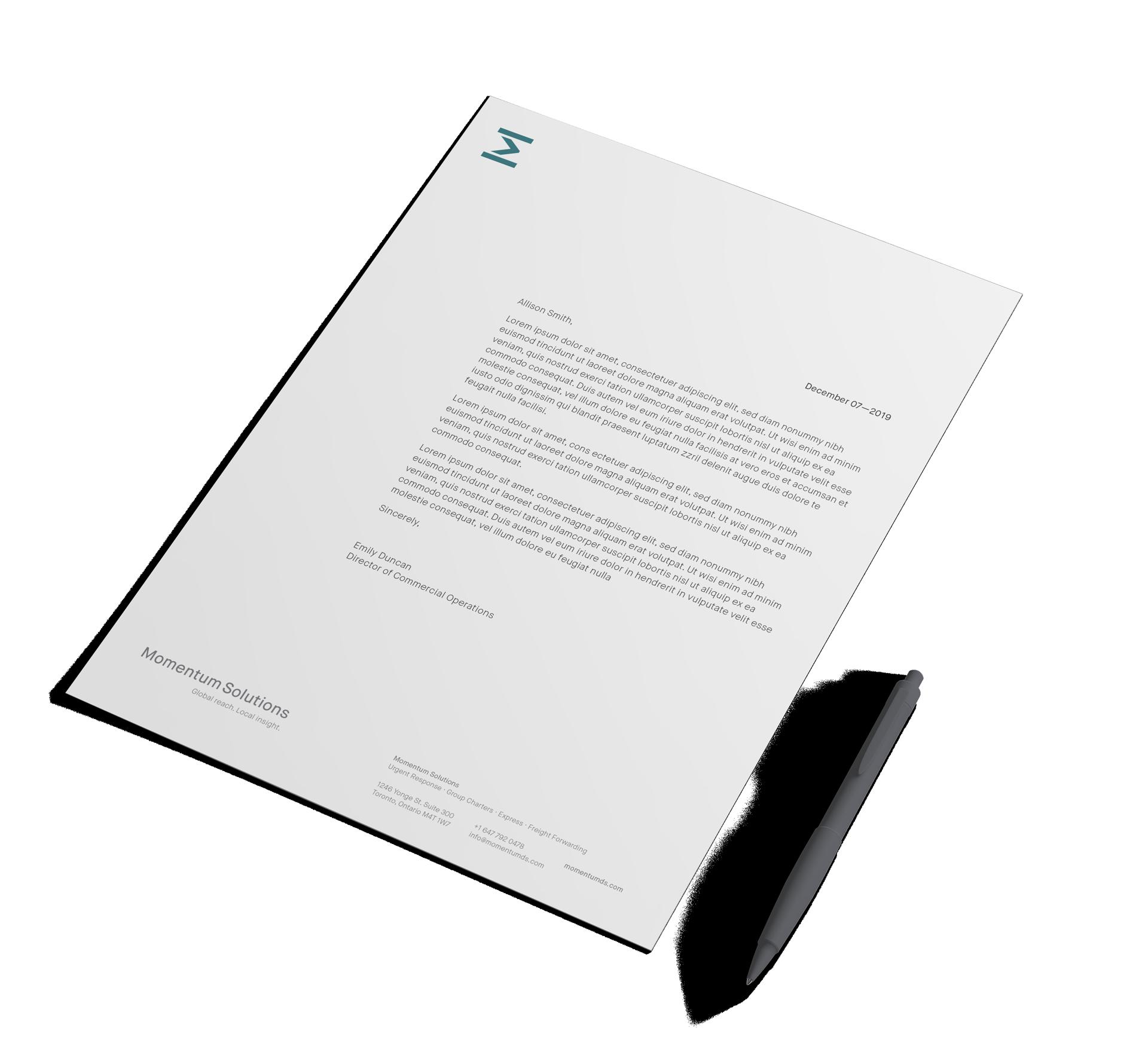 momentum solutions letterhead design