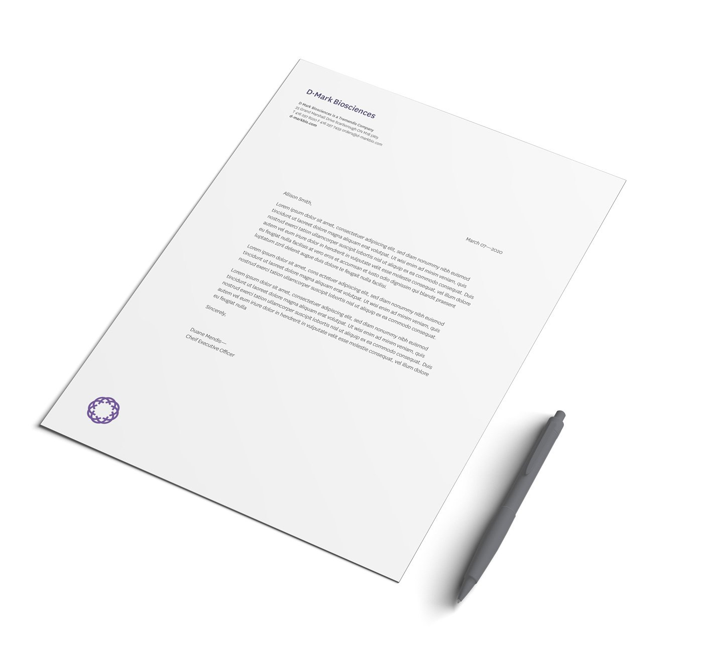 Biosciences company stationery letterhead design