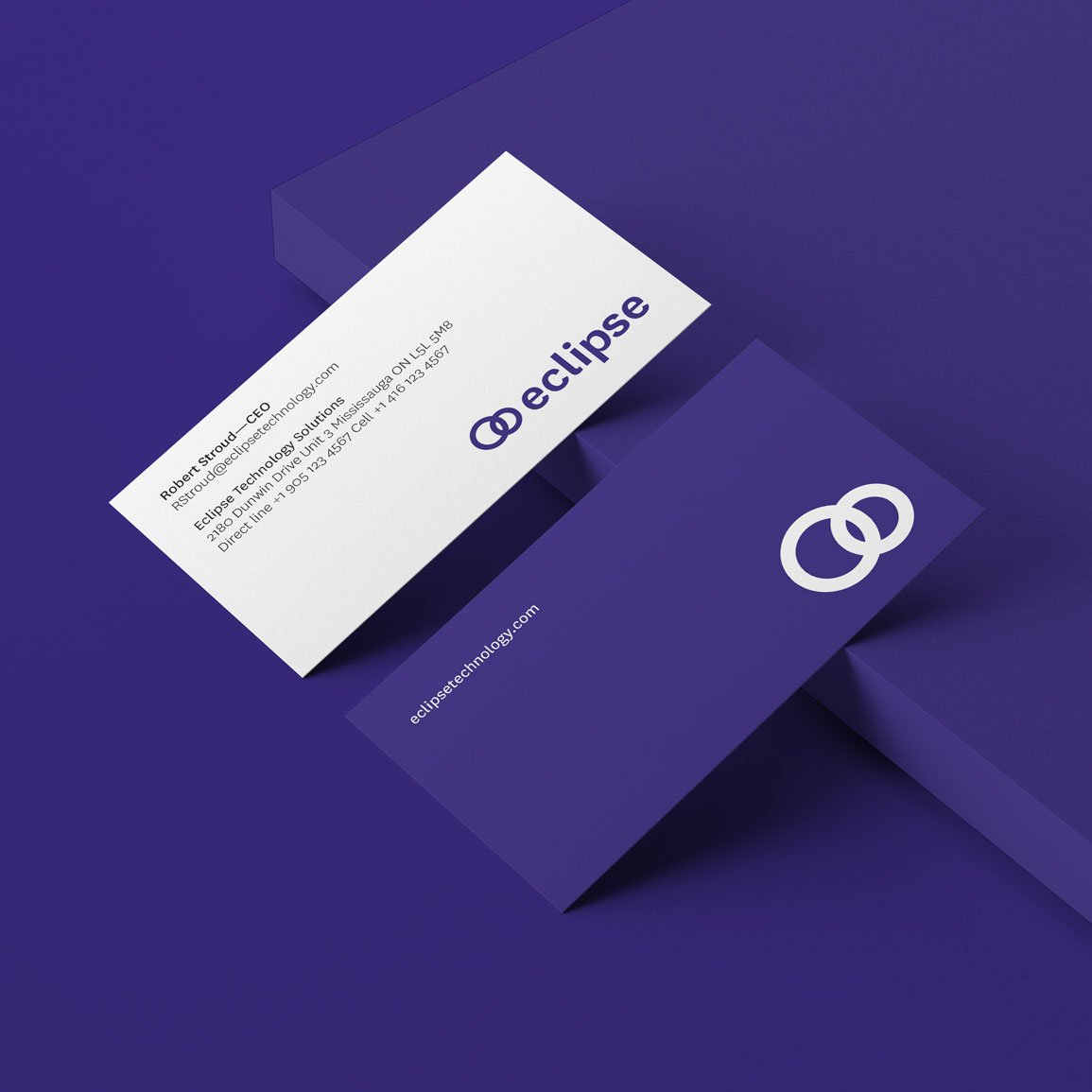Technology solutions company stationery business card design