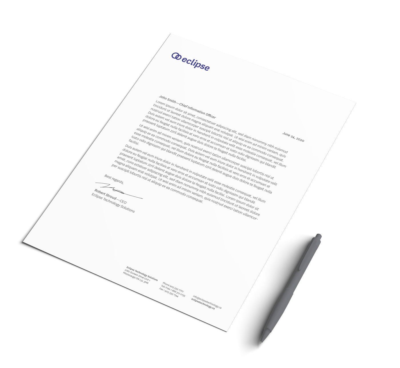 Technology solutions company stationery design letterhead