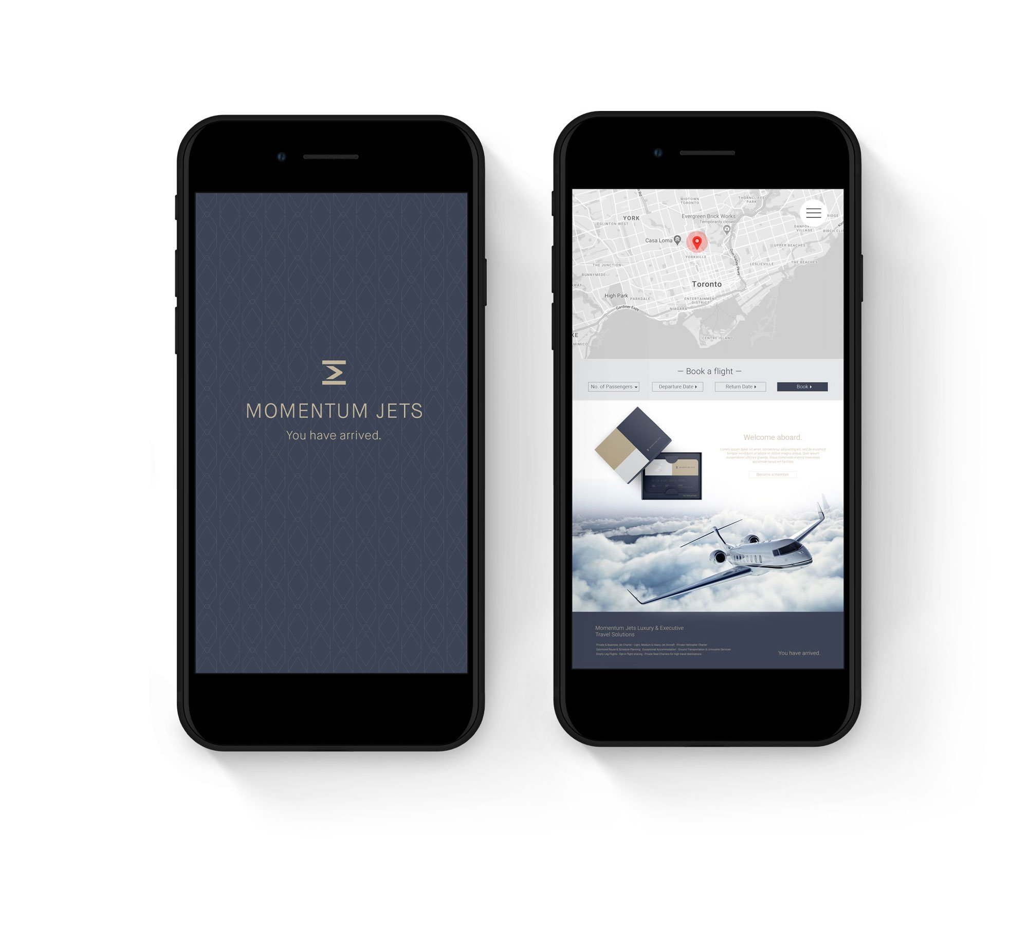 Private jet company branding booking app screen