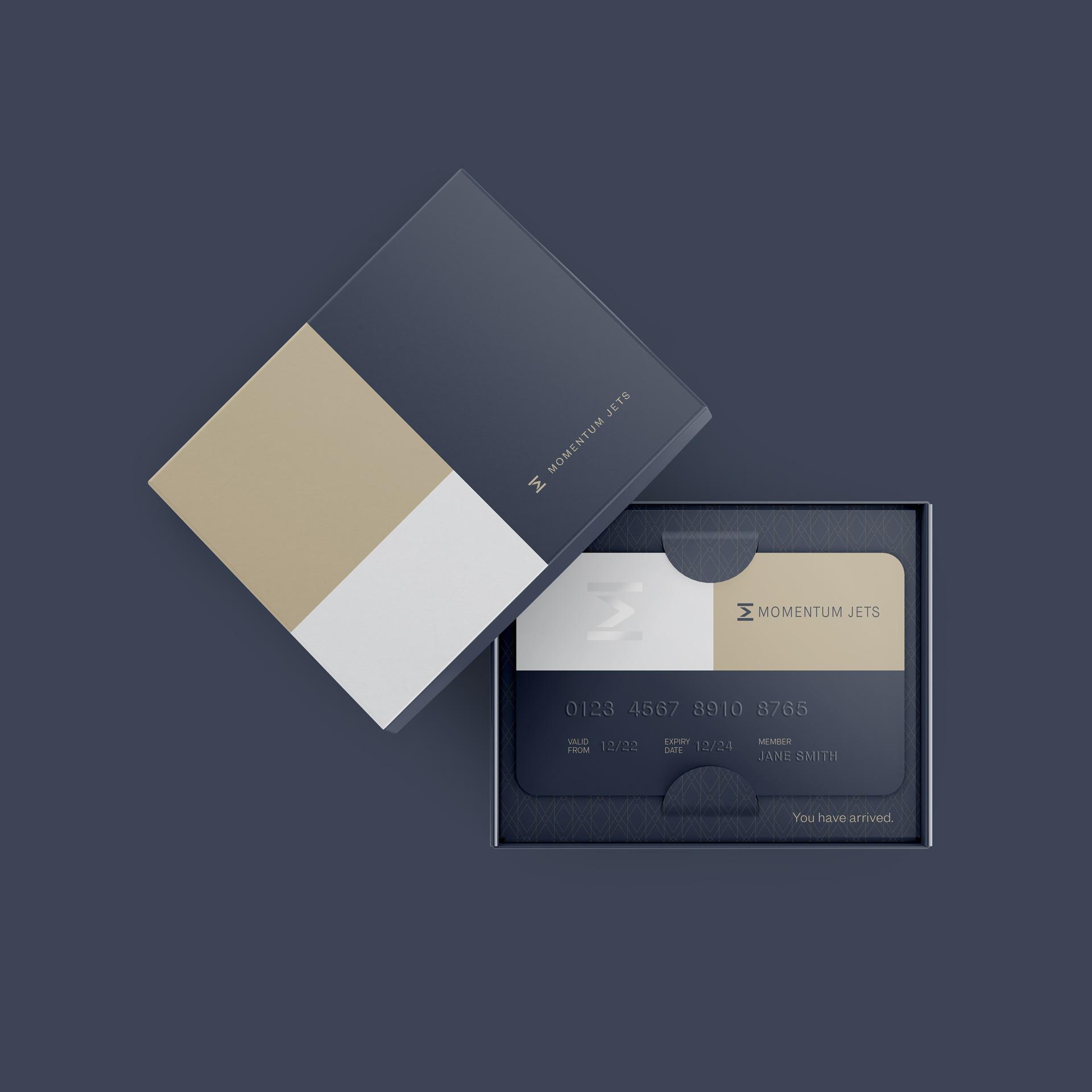 Momentum Jets membership card package design
