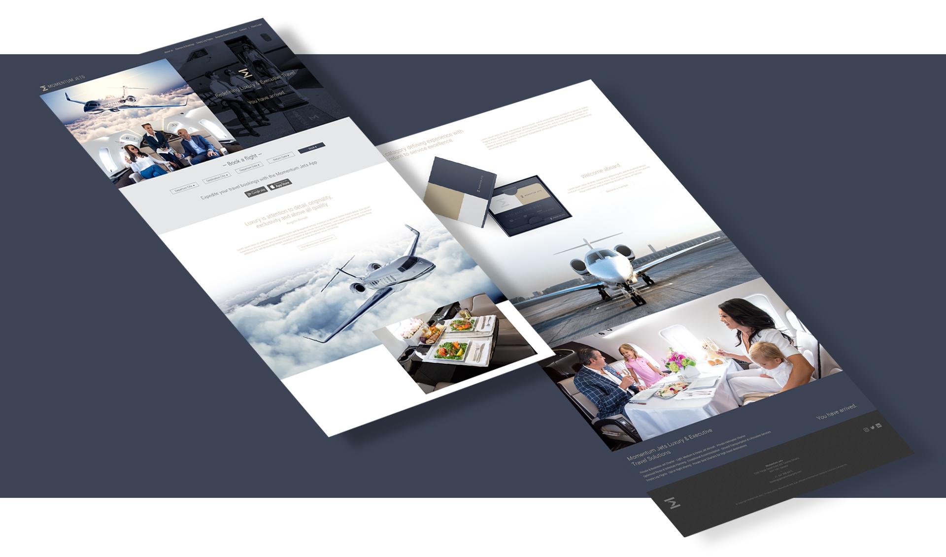 Momentum Jets isometric website design