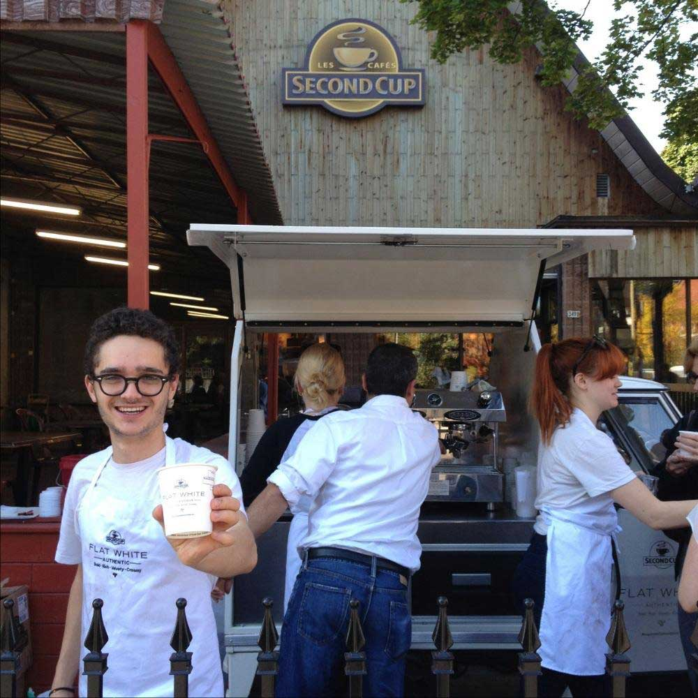 Flat White Experiential campaign sampling photo