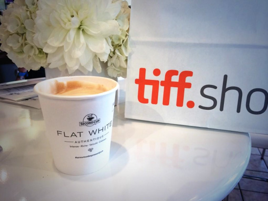 Flat White coffee cup with film festiival bag