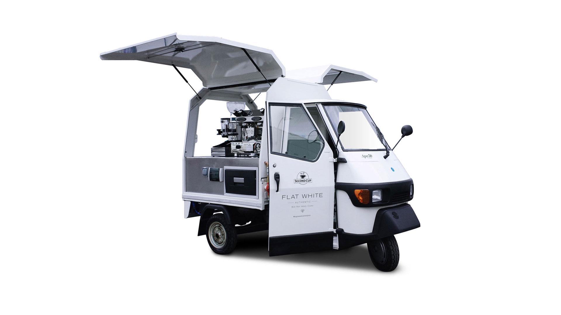 Flat White Piaggio Ape coffee truck