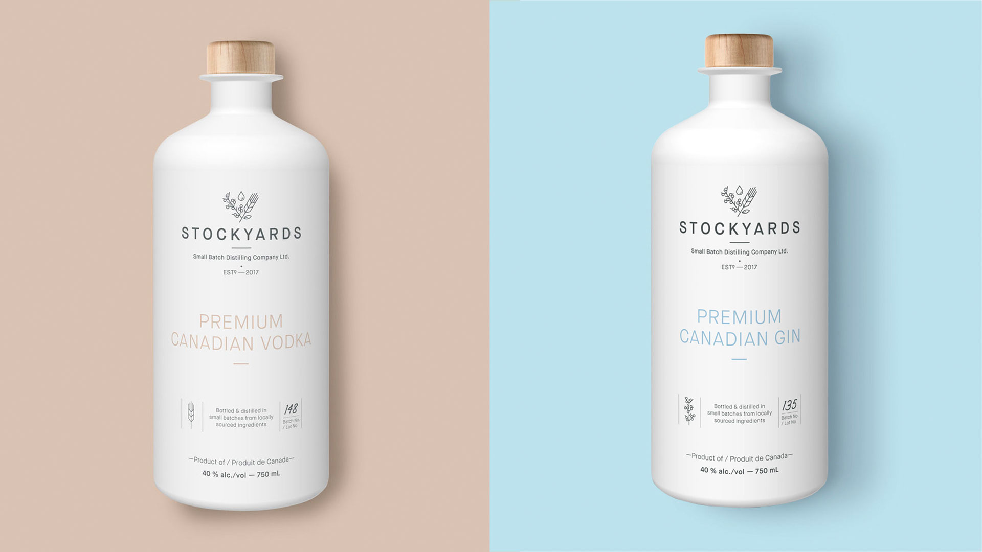 Stockyards gin and vodka package design